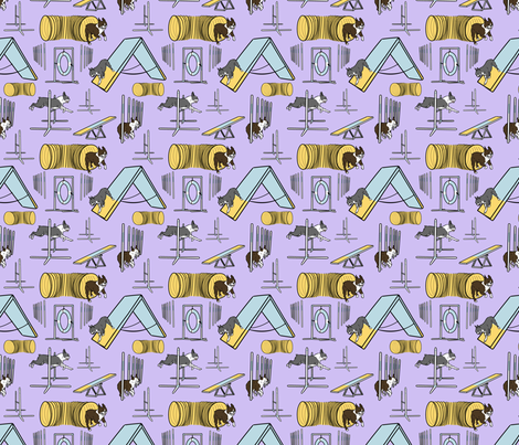 Simple Boston Terrier agility dogs - small purple fabric by rusticcorgi on Spoonflower - custom fabric