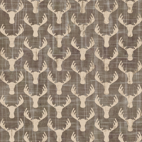 Moose Antlers in Washed Gray- Mini Size fabric by sarah_treu on Spoonflower - custom fabric