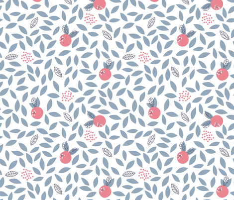 Leaves and berries fabric by molecula on Spoonflower - custom fabric