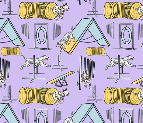 Simple Dalmatian agility dogs - purple fabric by rusticcorgi on Spoonflower - custom fabric