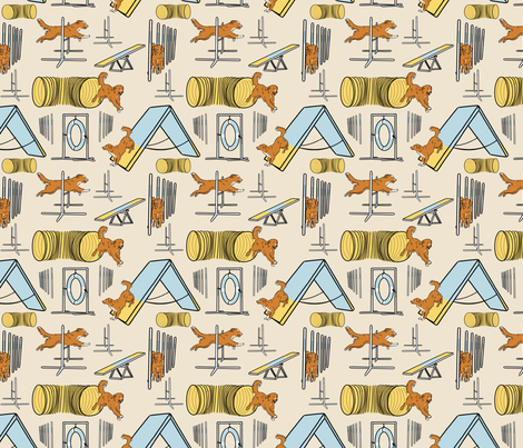 Simple Nova Scotia Duck Tolling Retriever agility dogs - small tan fabric by rusticcorgi on Spoonflower - custom fabric