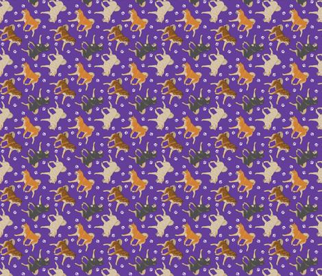 Trotting Shiba Inu and paw prints - tiny purple fabric by rusticcorgi on Spoonflower - custom fabric