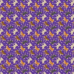Trotting Shiba Inu and paw prints - tiny purple