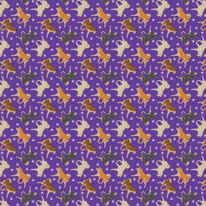 Trotting Shiba Inu and paw prints - tiny purple