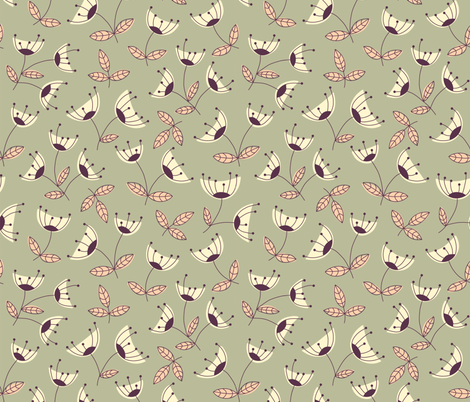 Green florals fabric by molecula on Spoonflower - custom fabric