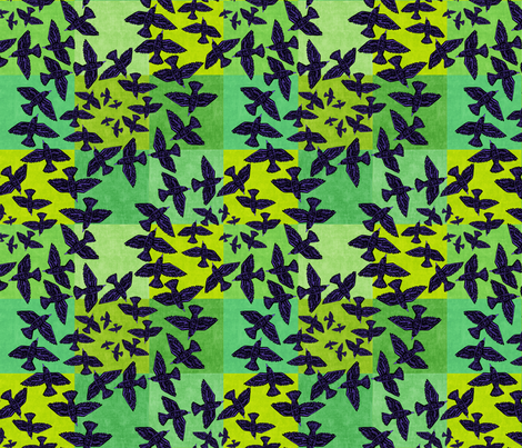 Ravens Over the Fields fabric by elramsay on Spoonflower - custom fabric