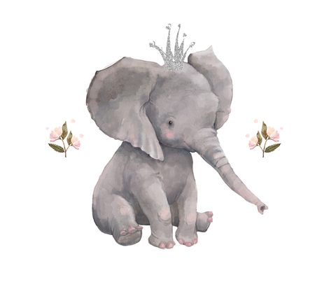 "18""x21"" floral baby elephant for pillows fabric by shopcabin on Spoonflower - custom fabric"