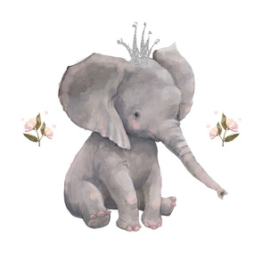 "18""x21"" floral baby elephant for pillows"