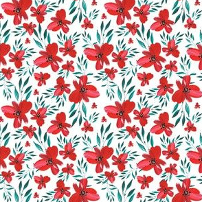 "3"" Celebration Deer Seamless Red Florals"