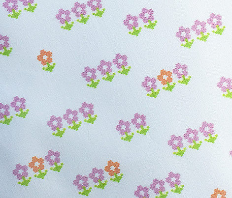Double-Knit Meadow* || polyester jacquard flower flowers floral leaves nature garden pink orange pixel pixels pixelated pixelized 70s 1970s seventies retro vintage style