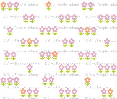 Double-Knit Meadow* || polyester jacquard flower flowers floral leaves nature garden pink orange pixel pixels pixelated pixelized 70s 1970s seventies retro vintage style