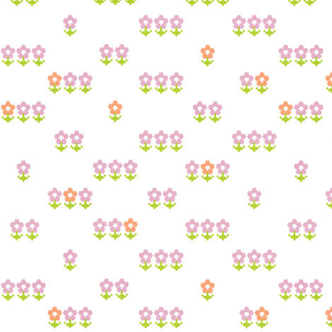 Double-Knit Meadow* || polyester jacquard flower flowers floral leaves nature garden pink orange pixel pixels pixelated pixelized 70s 1970s seventies retro vintage style fabric by pennycandy on Spoonflower - custom fabric