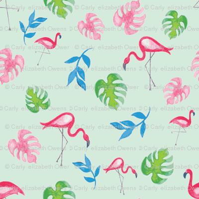 Tropical Flamingos in Aqua