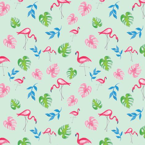Tropical Flamingos in Aqua fabric by carlyelizabethowens on Spoonflower - custom fabric
