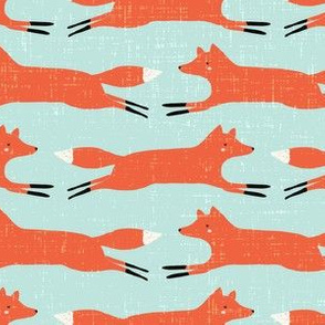 little orange fox // leaping fox