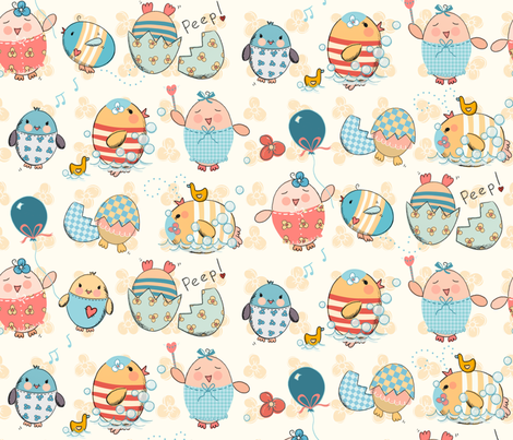 Itty Bitty Flying Peeps fabric by designed_by_debby on Spoonflower - custom fabric