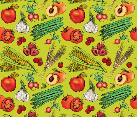 Fruits + Veggies on Green fabric by nikkimay on Spoonflower - custom fabric