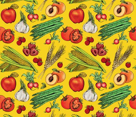Fruits + Veggies on Yellow fabric by nikkimay on Spoonflower - custom fabric