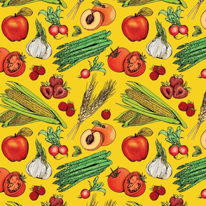 Fruits + Veggies on Yellow