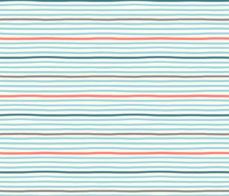 wavy stripes aqua blue fabric by designed_by_debby on Spoonflower - custom fabric