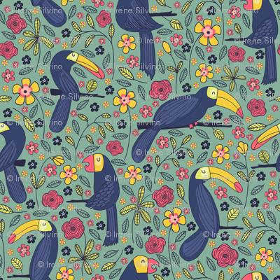Pattern #83 - Toucans and parrots tropical dream
