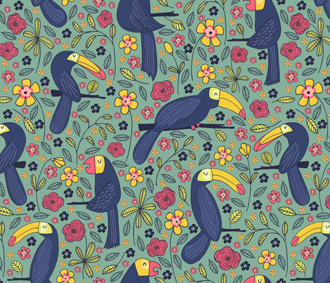Pattern #83 - Toucans and parrots tropical dream  fabric by irenesilvino on Spoonflower - custom fabric