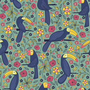 Pattern #83 - Toucans and parrots tropical dream