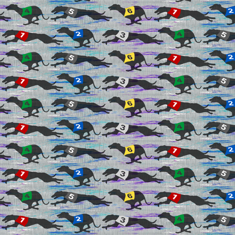 Small Coursing Whippets border - galaxy fabric by rusticcorgi on Spoonflower - custom fabric