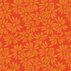 Flower - Orange on Red