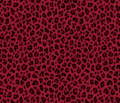 ★ LEOPARD PRINT in DEEP RED ★ Medium Scale / Collection : Leopard spots – Punk Rock Animal Print fabric by borderlines on Spoonflower - custom fabric