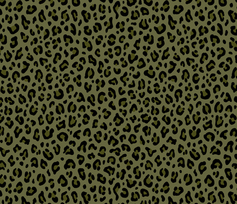 ★ CAMO LEOPARD - LEOPARD PRINT in OLIVE GREEN ★ Medium Scale / Collection : Leopard spots – Punk Rock Animal Print fabric by borderlines on Spoonflower - custom fabric