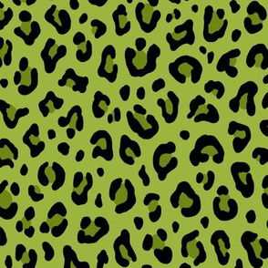 ★ PSYCHOBILLY LEOPARD – LEOPARD PRINT in LIME GREEN ★ Medium Scale / Collection : Leopard spots – Punk Rock Animal Print