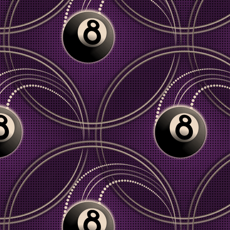 ★ MAGIC EIGHT BALL in PURPLE ★ Large Scale Print fabric by borderlines on Spoonflower - custom fabric
