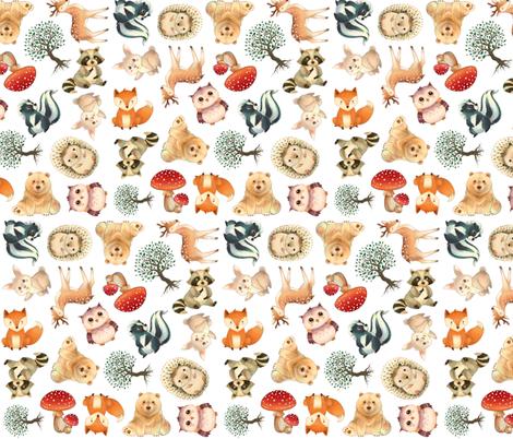 Woodland Animal Pattern fabric by silveroakdesign on Spoonflower - custom fabric