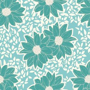 Teal Flowers 3