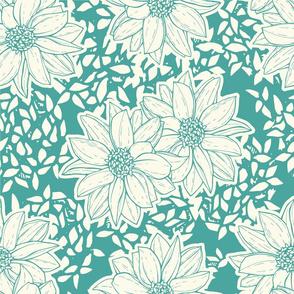 Teal Flowers 2