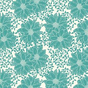 Teal Flowers 1