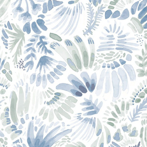 Muted Blues and Greens Floral Pattern