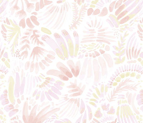 muted coral and peach 05 fabric flowerandvine spoonflower