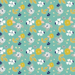 green and navy blue floral dogwood
