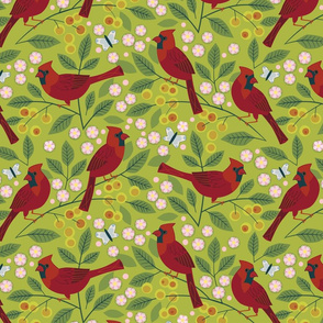 Cardinals in the Crab Apple
