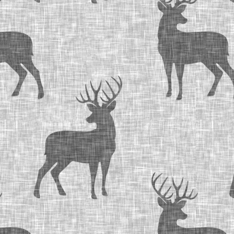 grey bucks on light grey linen fabric by littlearrowdesign on Spoonflower - custom fabric