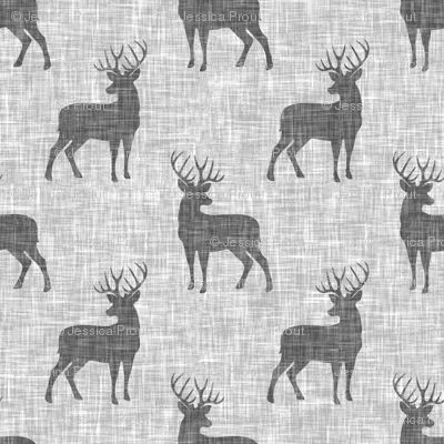 (small scale) grey bucks on light grey linen