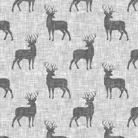 (small scale) grey bucks on light grey linen fabric by littlearrowdesign on Spoonflower - custom fabric