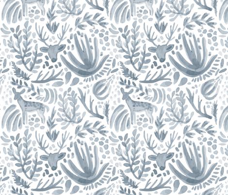 Steel Blue Deer Pattern fabric by flowerandvine on Spoonflower - custom fabric