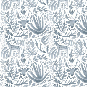 Steel Blue Deer Pattern