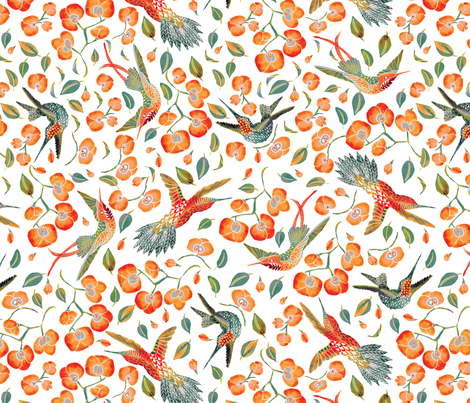 humming orchids  fabric by stargazingseamstress on Spoonflower - custom fabric