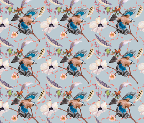 birds of a feather octagonal pats fabric by lkm3s on Spoonflower - custom fabric