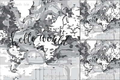 1 blanket + 2 loveys: monochrome hello world
