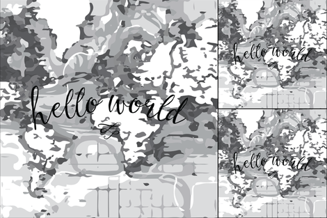 1 blanket + 2 loveys: monochrome hello world fabric by ivieclothco on Spoonflower - custom fabric